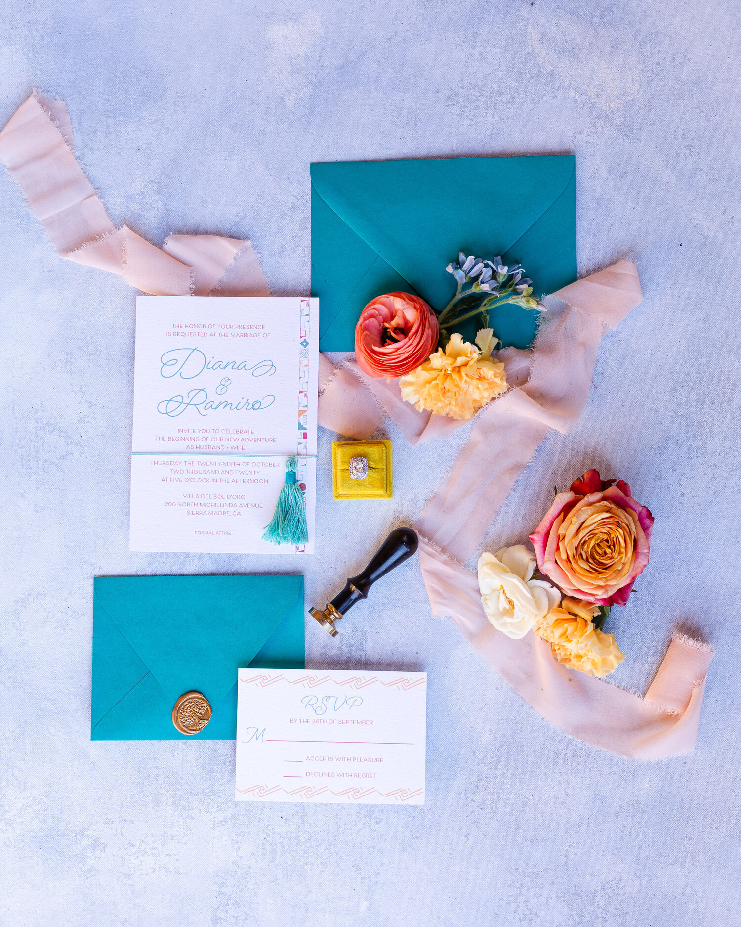 h & l lovely creations bespoke weddings southern california colourful 00021